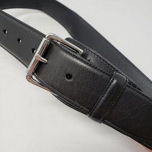 Ralph Lauren Men's black leather belt silver buckl